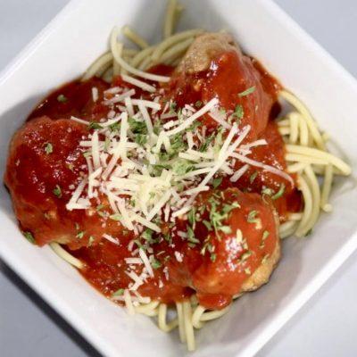 Turkey Meatballs Over Veggie Pasta Spaghetti